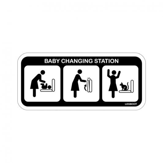 Baby Changing Station Sticker - Cat